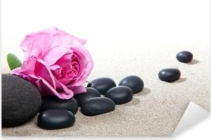 Pixerstick Sticker Zen sfeer - roze en zwarte stenen