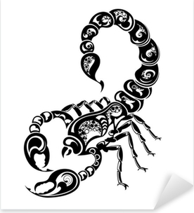 Zodiac signs - Scorpio. Tattoo design. Pixerstick Sticker