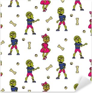 Zombie cartoon teen couple seamless pattern. Junior fashion street background. Pixerstick Sticker