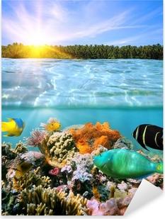Pixerstick Sticker Zonsondergang en kleurrijke onderwater leven in zee