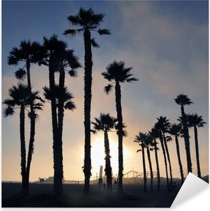 Pixerstick Sticker Zonsondergang en palmbomen, strand van Santa Monica, Los Angeles, Verenigde Staten
