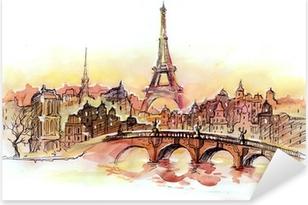 Pixerstick Sticker Zonsondergang in Parijs