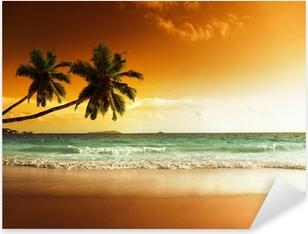 Pixerstick Sticker Zonsondergang op het strand van de Caribische zee