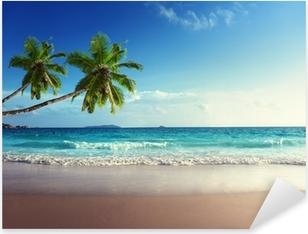 Pixerstick Sticker Zonsondergang op het strand van de Seychellen