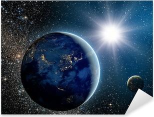 Pixerstick Sticker Zonsopgang boven de planeet en satellieten in de ruimte.