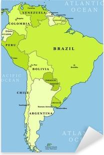 Pixerstick Sticker Zuid-Amerika administratieve kaart