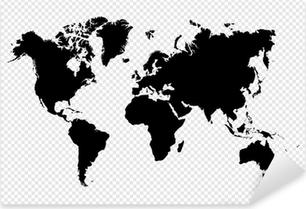 Pixerstick Sticker Zwart silhouet geïsoleerd Wereldkaart EPS10 vector bestand.