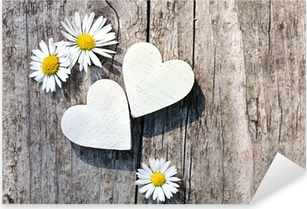 Zwei weiße Herzen & Gänseblümchen Pixerstick Sticker