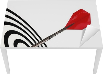 A dart arrow hits its target isolated with clipping path Table & Desk Veneer