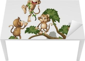 A tree with four monkeys Table & Desk Veneer