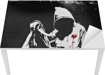 Banksy Hoodie with Knife Graffiti Table & Desk Veneer
