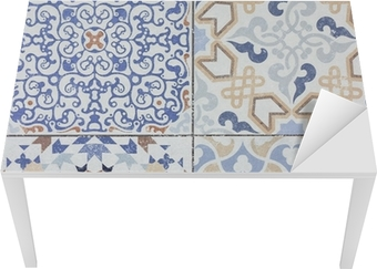 Beautiful old ceramic tile wall patterns in the park public. Table & Desk Veneer