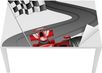 Formula 1 Red Car on Race Track Table & Desk Veneer