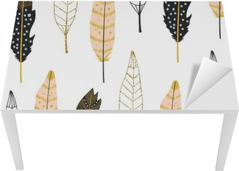 Hand Drawn Feathers Seamless Pattern Table & Desk Veneer