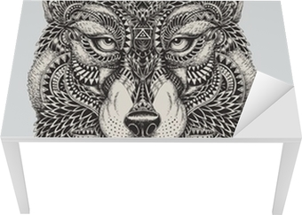 Highly detailed abstract wolf illustration Table & Desk Veneer