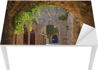 Medieval arched street in the old town of Rhodes, Greece Table & Desk Veneer