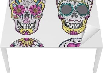 Mexican skull set. Colorful skulls with flower and heart ornamen Table & Desk Veneer
