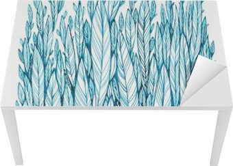 pattern of blue leaves, grass, feathers, watercolor ink drawing Table & Desk Veneer
