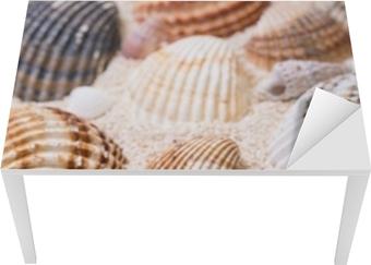 Sea shells with coral sand Table & Desk Veneer