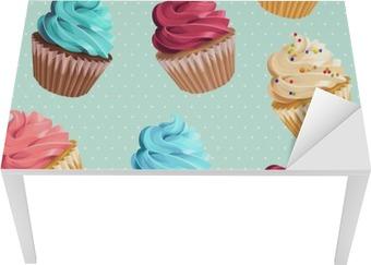 Seamless cupcakes and polka dot Table & Desk Veneer