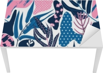 Seamless pattern, hand drawn abstract plant, leaf and flowers, pink and blue tones on white background Table & Desk Veneer