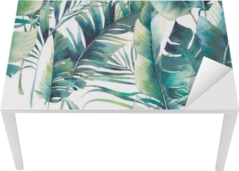 Summer palm tree and banana leaves seamless pattern. Watercolor texture with green branches on white background. Hand drawn tropical wallpaper design Table & Desk Veneer