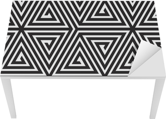 Triangles, Black and White Abstract Seamless Geometric Pattern, Table & Desk Veneer