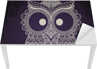Vector illustration of owl. Bird illustrated in tribal. Table & Desk Veneer