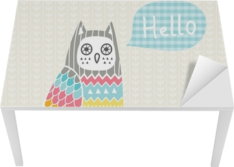 Vector illustration with colorful owl Table & Desk Veneer