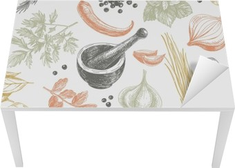 Vector seamless pattern with herbs and spices. Table & Desk Veneer