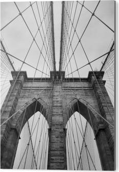 Tableau Alu-Dibond Brooklyn Bridge New York City close up détail architectural en noir et blanc intemporel