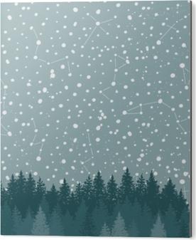Tableau Alu-Dibond Ciel de forêt et de nuit avec les étoiles vector background. toile de fond de l'espace.