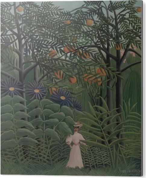 Tableau Alu-Dibond Henri Rousseau - Femme se promenant dans une forêt exotique - Reproductions