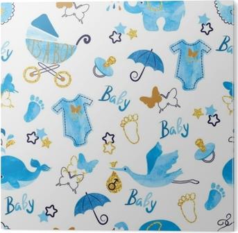 Tableau Alu-Dibond Modèle sans couture de bébé douche garçon. vecteur fond aquarelle enfants.