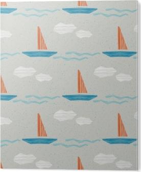 Tableau Alu-Dibond Modèle sans couture de l'été avec des bateaux