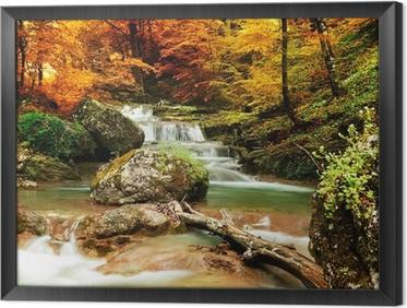 Tableau en cadre Automne ruisseau bois avec des arbres jaunes