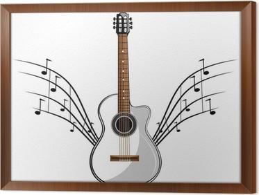 elegant tableau en cadre blanc pochoir de guitare classique prt pour la coupe de vinyle with. Black Bedroom Furniture Sets. Home Design Ideas