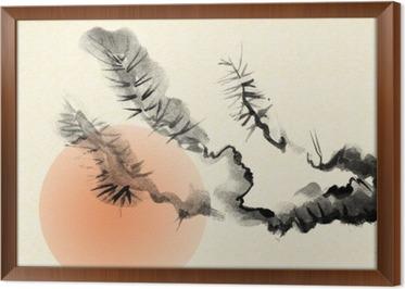 Tableau en cadre Branches d'un vieil arbre de pin, dessinés dans le style de sumi-e.