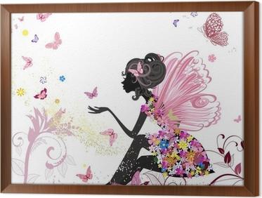 Tableau en Cadre Fée Fleur dans l'environnement de papillons