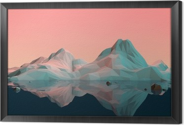 Tableau en Cadre Low-Poly 3D Paysage de montagne avec l'eau et la réflexion