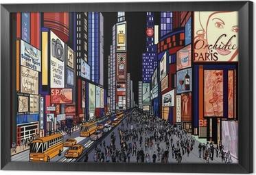 Tableau en cadre New York - vue de nuit de Times Square
