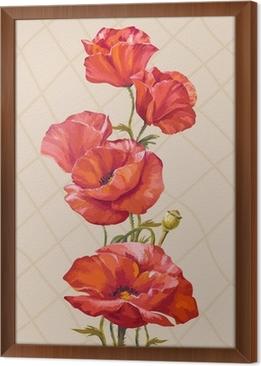 2adcd85ab6ab Tableau sur toile Peinture à l huile. Carte avec fleurs de pavots • Pixers®  - Nous vivons pour changer