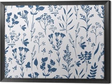 Tableau en cadre Seamless floral dessiné à la main avec des herbes