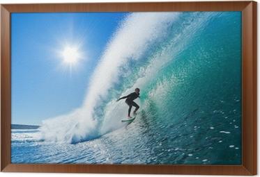 Tableau en Cadre Surfer sur le bleu Ocean Wave