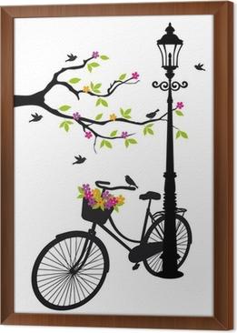 Papier Peint Velo Avec Lampe Des Fleurs Et Des Arbres Vecteur