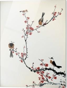 Tableau en verre Oiseaux peinture