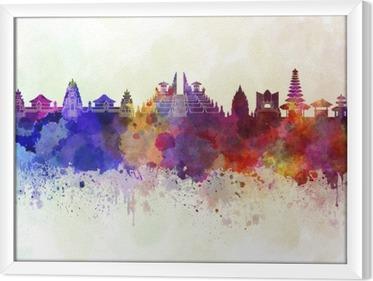 Tableau encadré Bali skyline en fond d'aquarelle