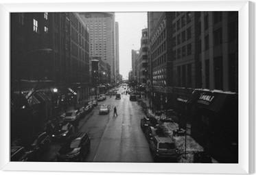 Tableau encadré Blanc Chicago Rues Noir et