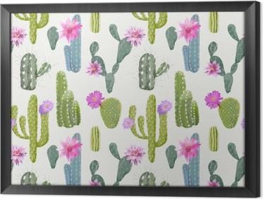 Tableau encadré Contexte Vector Cactus. Motif continu. Plante exotique. Tropique