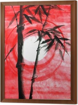 Tableau encadré Encre Aquarelle Japanise bambou sur le coucher du soleil
